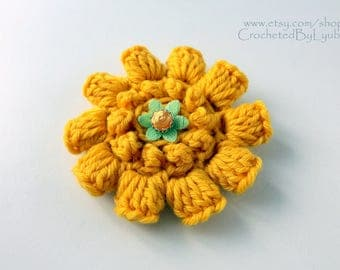 Yellow Crochet Flower Brooch, 3d Flower, Large Crochet Flower, Unique Crochet Gift For Her, Big Flower, Hand Crocheted Item, Ready to Ship