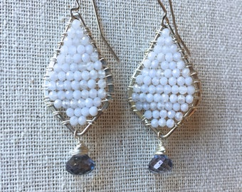 Blue chalcedony and iolite gemstone silver earrings
