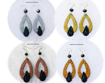 Sparkly Glitter Silver, Gold, Copper, Amber Gold and Black Teardrop Dangle Statement Earrings, Date Night