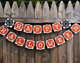 Halloween Banner - Happy Halloween - Halloween Party - Halloween Sign - Halloween Decoration - Baby Shower - Halloween Garland - Spider Webs