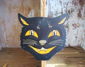 Vintage Beistle Black Cat Face Halloween Decoration