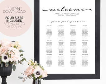 Wedding Seating Chart Template - Seating Chart Printable - Seating Chart Wedding - Seating Plan Template - Wedding Seating Plan