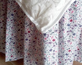 Floral Bed Skirt - Floral Bed Valance - Country Bedskirt - Floral Dust Ruffle  - Bedskirt  - King Size