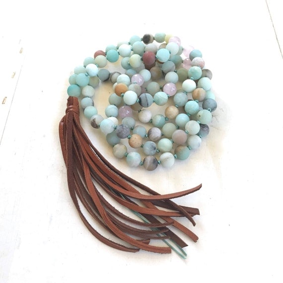 Add A Leather Tassel To Your Mala,  Leather Tassel Mala Beads, Unique Mala Beads
