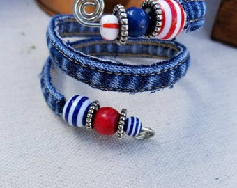 Recycled Denim Blue Jeans over Wire Wrapped Bracelet featuring Red and Blue Beads
