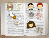 Wizard School Students Magnetic Bookmarks Set 1 - Harry, Ron, Hermione, Luna Lovegood, and Golden Snitch Clips
