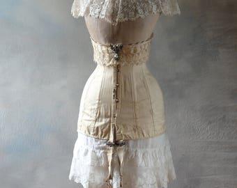 Antique corset and wasp waist mannequin, edwardian corset, collar, dress form, dressform, 1909 J'eanne d'Arc Living,