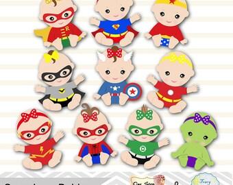 Digital Superhero Baby Girls Clipart, Superhero Baby Clip Art, Super Baby Clipart, Little Girl Superhero Clipart, Baby Shower Superhero 0230