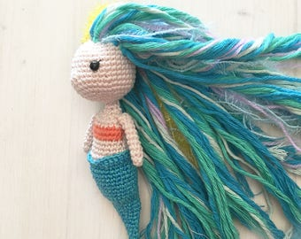 Amigurumi Mermaid crochet pattern with colorful hair Make your own sea creature soft doll Gift for crocheter Free time activity Summer hobby