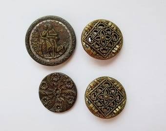 4 Antique German Buttons, Old Brass Buttons, Ornate vintage gold buttons, victorian buttons