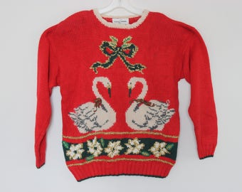 L Vintage Ugly Christmas Sweater with CHRISTMAS GEESE! 782