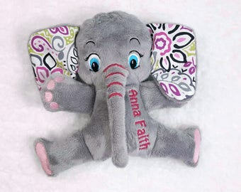 Personalized Elephant Baby Gift,  Elephant Stuffed Animal, Handcrafted Toy, Elephant Plushie, Elephant Nursery Decor, Gift for New Baby Girl