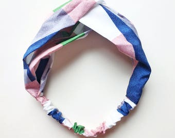Phyllis Fabric Headband - Turban headband - Color Block print - Boho headband - Geometric print - Pink headband - Adult headband