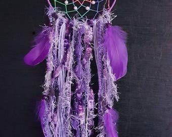 Mauve Dream Catcher With  Rainbow Web Mauve Feather  Mauve Lace Trim