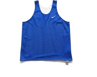 90s reversible Nike swoosh tank top size large made in USA blue / white grey tag vintage