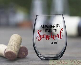 Funny Teacher Gift, Survival Glass, Kindergarten Teacher Survival Glass,, Preschool Student Gift, Teacher Gift Idea, Teacher Birthday Gift