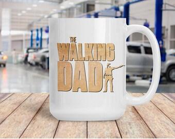 Funny Gift for Dad, Walking Dad Coffee Tea Mug, Ceramic Walking Dead Cup, Coffee Lover Gift Idea, TWD AMC Walker Sleeping Dad