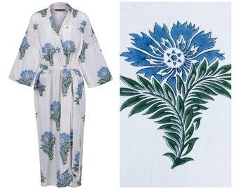 Kimono Robe Cotton Dressing Gown Bathrobe for Women - Lightweight Long Cotton Kimono Dressing Gown - Women's Bathrobe - 100% Cotton
