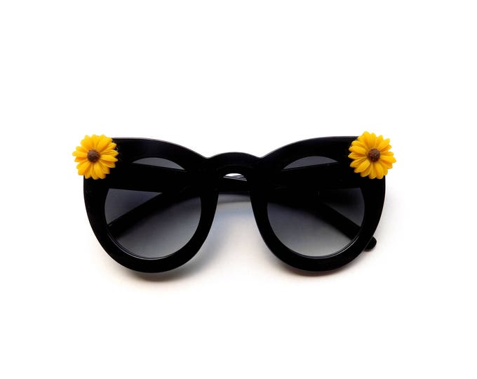Simple cateye sunglasses with yellow sunflowers, embellished sunnies perfect for music festivals