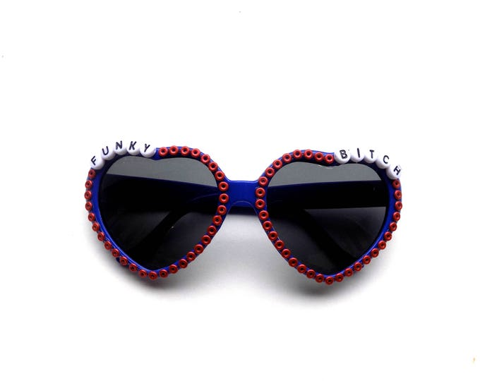 """Phish """"Funky Bitch"""" heart-shaped sunglasses with Fishman donuts! Phishy embellished sunglasses, funky shades for Phish NYE!"""