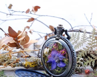 Terrarium necklace, pocket watch, real flower necklace, botanical necklace, fairy garden, statement necklace, victorian necklace
