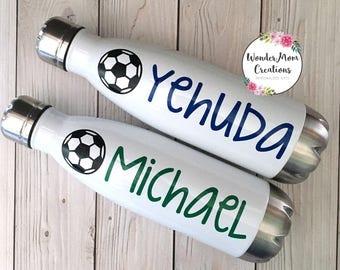 Soccer Vacuum Sealed Water Bottle; Soccer Coach Water Bottle; Personalized Soccer Water Bottle; Soccer Ball Water Bottle; Soccer Team