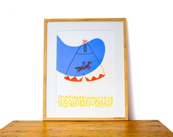 TIPI BOY. Screen-printed illustration on paper.