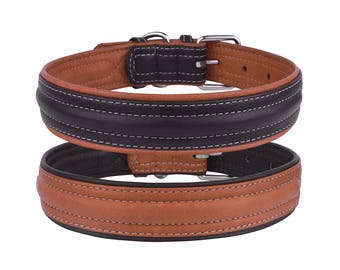 Leather Dog Collar Soft Padded  Brown Black Optional Personalized ID Tag Small Medium Large