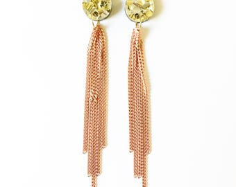 CHAIN drop earrings. Peach and gold chain, gold and silver acrylic stud.
