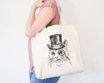 Sir Alfred the Cat Canvas Tote Bag