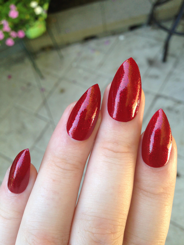 Fake nails, stiletto nails, red nails, press on nails, Christmas ...