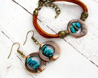 December Birthstone Jewelry-Genuine Turquoise Jewelry-Boho Turquoise Jewelry-Personalized Jewelry Gift for Women-Raw Stone Jewelry Set