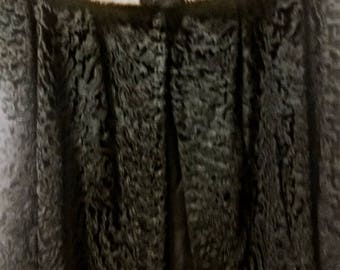 Gorgeous Black Persian Lamb Fur Jacket with Silver Mink Fur Collar - Size M