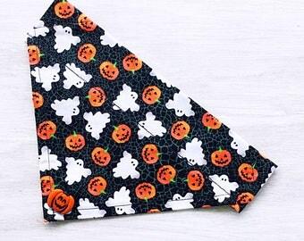 Ghosts and Pumpkins Over-the-Collar Dog Bandanas and Cat Bandanas