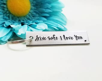 Drive Safe I Love You - New Driver Gift - Drive Safe Keychain - Engraved Keychain - Rectangle Keychain - Metal Keychain - Personalized Gift