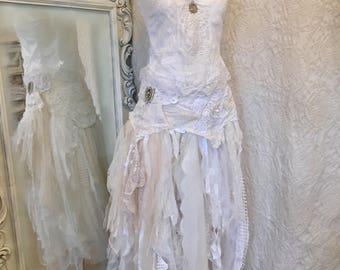 Boho wedding dress white and pure,bridal gown eco friendly,bohemian wedding dress lace up,victorian wedding gown,steampunk wedding dress raw