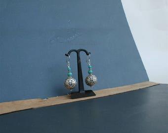Large Filigree Ball Earrings, Large Dangle Floral Earrings, Genuine Turquoise Earrings, Solid Sterling Silver Large Ball Earrings, Handmade
