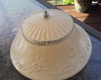 Vintage 1930's - 40's Ceiling Decorative Glass Light Fixture and Shade