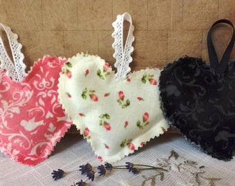 Valentine Dried Lavender Bud Filled Heart Shape Sachet Trio