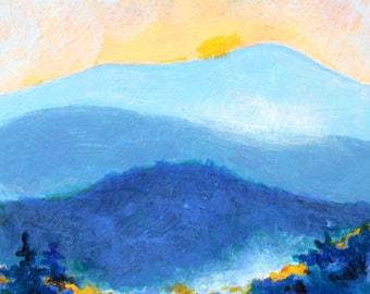 "Mountain Mist Original Landscape  Autumn Sunrise Painting Acrylic on Board 4""x4"""