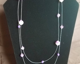 Floating Purple and White Splatter Glass Bead Necklace
