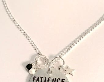 "Voltron Legendary Defender Shiro Keith Inspired Hand-Stamped Necklace: ""Patience Yields Focus"""