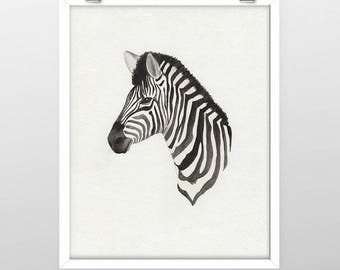 Zebra Watercolor Print - 8x10, 11x14 - Home Decor