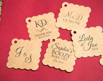 "50+ Printed Kraft 1.5"" Square Gift Tags, Kraft Wedding favour tags, Custom Jewellery Tags, wedding favors 1.5 inch. Small 35mm tags"