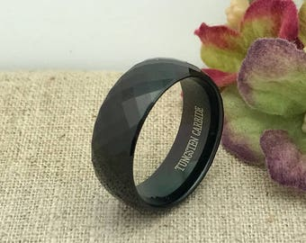 8mm Tungsten Wedding Ring. Personalized Custom Engraved Tungsten Ring, Black Tungsten Wedding Ring Band FREE ENGRAVING