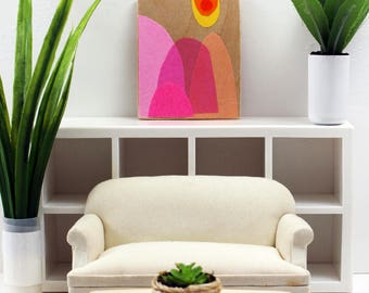 Original Miniature Artwork for the Modern Home - Pink Mountain Sun Day