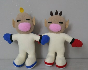 "Handmade Captain Olimar and Louie plushies 8"" (unofficial)from ""Pikmin"",videogame,game plush,pikmin soft toy,geeky plushies,pikmin doll"