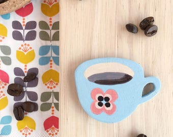 Handpainted wooden brooch coffee cup Moka Tazzulella blue and orange-PREORDER