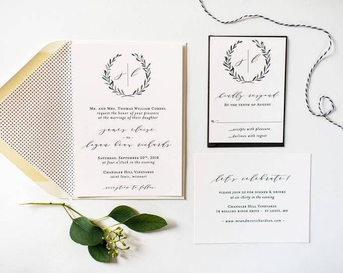 NEW!  james greenery wedding invitation sample set // monogram winery olive branch rustic eucalyptus custom modern simple calligraphy invite