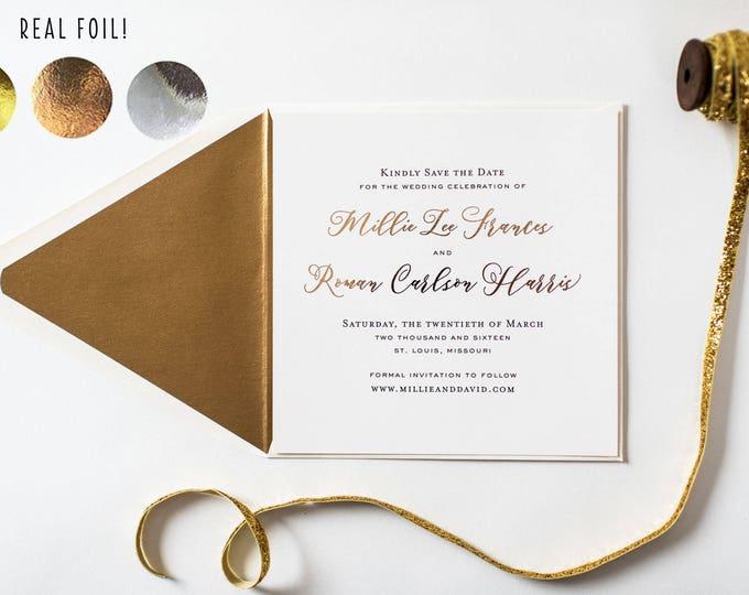NEW! millie gold foil save the date invitations  //  gold foil rose gold foil silver foil modern calligraphy romantic custom invite